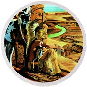 Breaking Sunrise Round Beach Towel by Cheryl Poland