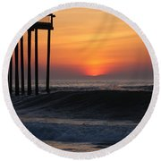 Breaking Sunrise Round Beach Towel