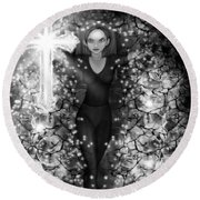 Breaking Through Darkness - Black And White Fantasy Art Round Beach Towel