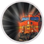 Round Beach Towel featuring the photograph Breaking Through by Geraldine DeBoer