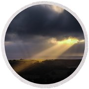 Round Beach Towel featuring the photograph Breaking Through by Will Gudgeon