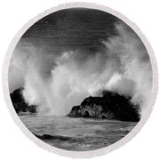 Breaking Wave At Pacific Grove Round Beach Towel