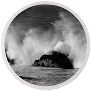Round Beach Towel featuring the photograph Breaking Wave At Pacific Grove by James B Toy