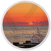 Breaking Wave On The Pier. Round Beach Towel by Allan Levin