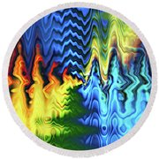Breaking Waves Abstract Round Beach Towel