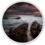 Breaking Waves, Signed Round Beach Towel