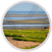 Breakwater Beach At Low Tide Round Beach Towel