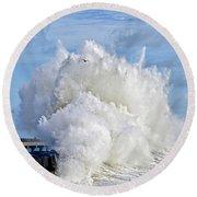 Breakwater Explosion Round Beach Towel by Michael Cinnamond