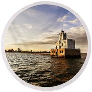Breakwater Lighthouse Round Beach Towel