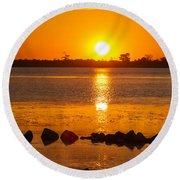 Breakwater Sunset Round Beach Towel