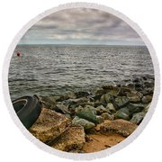 Breakwaters I Round Beach Towel