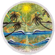Breathe In Clarity  Round Beach Towel