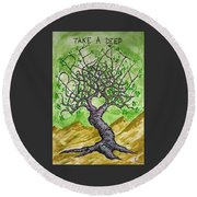Round Beach Towel featuring the drawing Breathe Love Tree by Aaron Bombalicki