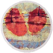 Round Beach Towel featuring the painting Breathe by Maria Huntley