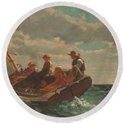 Round Beach Towel featuring the painting Breezing Up A Fair Wind - 1876 by Winslow Homer
