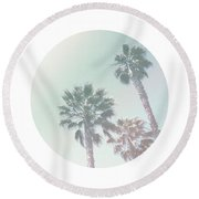 Breezy Palm Trees- Art By Linda Woods Round Beach Towel by Linda Woods