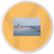 Breezy Point Lighthouse Round Beach Towel