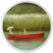 Round Beach Towel featuring the painting Breezy Spring by Chris Fraser