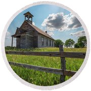 Round Beach Towel featuring the photograph Bremen Schoolhouse by Darren White