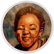 Round Beach Towel featuring the painting Brenda  by Betty-Anne McDonald