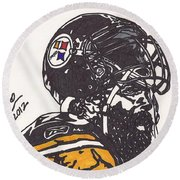 Round Beach Towel featuring the drawing Brett Keisel by Jeremiah Colley