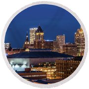 Brew City At Dusk Round Beach Towel