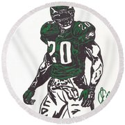 Round Beach Towel featuring the drawing Brian Dawkins 3 by Jeremiah Colley