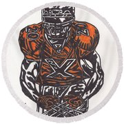 Round Beach Towel featuring the drawing Brian Dawkins by Jeremiah Colley