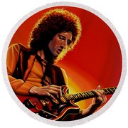 Brian May Of Queen Painting Round Beach Towel