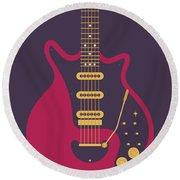 Red Special Guitar - Black Round Beach Towel