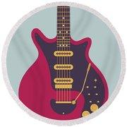 Red Special Guitar - Grey Round Beach Towel