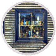 Round Beach Towel featuring the photograph Bric-a-brac by Wayne Sherriff