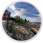 Brick Bell House At Pemaquid Point Light Round Beach Towel