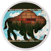Round Beach Towel featuring the photograph Red Brick Buffalo by Larry Campbell