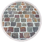 Brick By Brick Round Beach Towel by Russell Keating