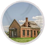 Round Beach Towel featuring the photograph Brick Home In June 2017 by Sue Smith