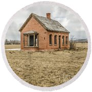 Round Beach Towel featuring the photograph Brick Home In November 2015 by Sue Smith