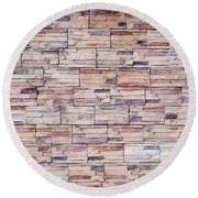 Brick Tiled Wall Round Beach Towel by John Williams