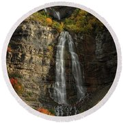 Round Beach Towel featuring the photograph Bridal Veil Falls by Dustin LeFevre