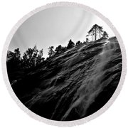 Bridal Veil Falls In Black And White Round Beach Towel