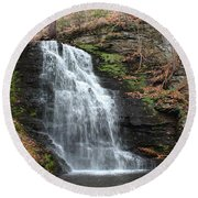 Round Beach Towel featuring the photograph Bridal Veil Falls by Linda Sannuti