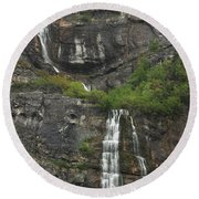 Bridal Veil Falls Provo Canyon Utah Fine Art Photograph Round Beach Towel