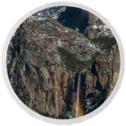 Bridal Veil Rainbow Round Beach Towel