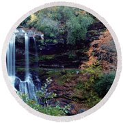 Round Beach Towel featuring the painting Bridal Veil Waterfalls by Debra Crank