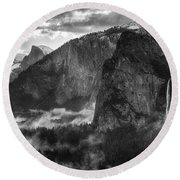 Bridalvail Falls And Half Dome Round Beach Towel