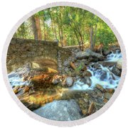 Bridalveil Creek At Yosemite By Michael Tidwell Round Beach Towel