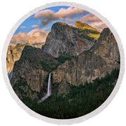 Bridalveil Falls From Tunnel View Round Beach Towel