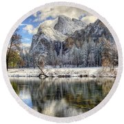 Bridalveil Falls From Valley View Yosemite National Park  Round Beach Towel
