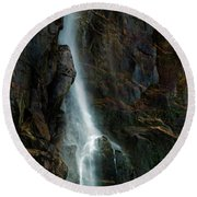 Round Beach Towel featuring the photograph Bridalveil Falls In Autumn by Bill Gallagher