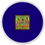 Bride In A Palanquin Round Beach Towel